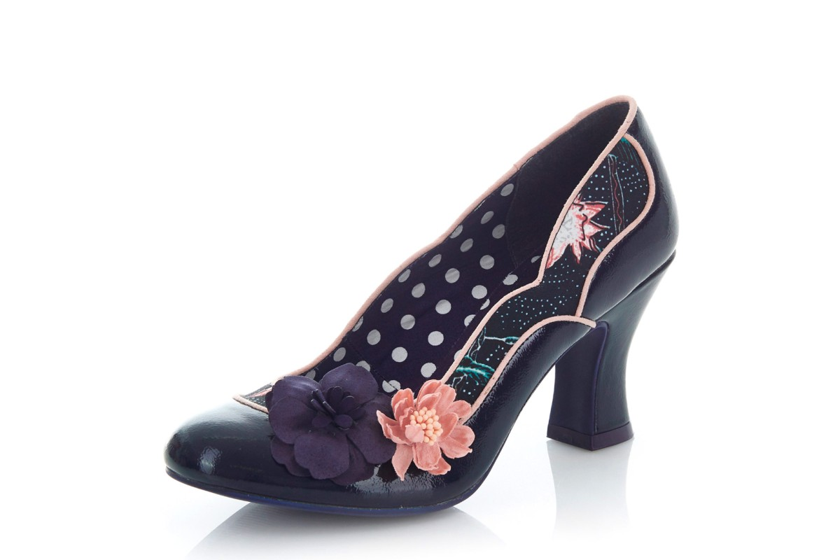 Ruby Shoo Viola Navy Patent Flower High Heel Court Shoes