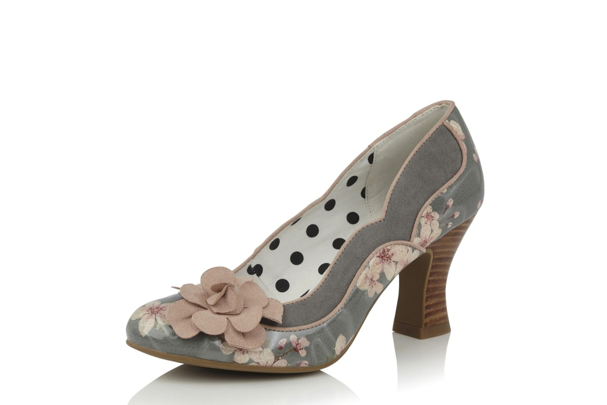 e7aadcf4d137 Ruby Shoo Viola Sage Grey Pink Floral High Heel Court Shoes