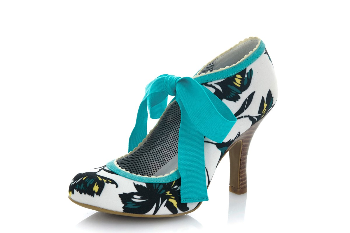 Ruby Shoo Willow Aqua Turquoise White Floral Lace Up High Heel Shoes