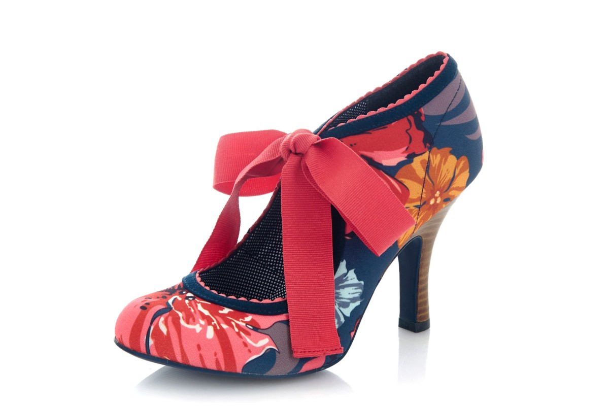 Ruby Shoo Willow Coral Navy Floral Lace Up High Heel Shoes