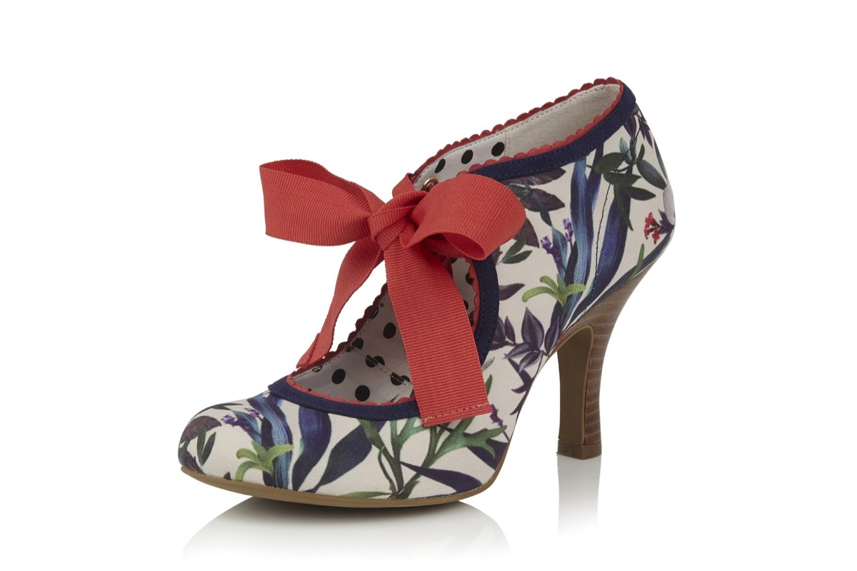 Ruby Shoo Willow Sage Coral Floral High Heel Shoes