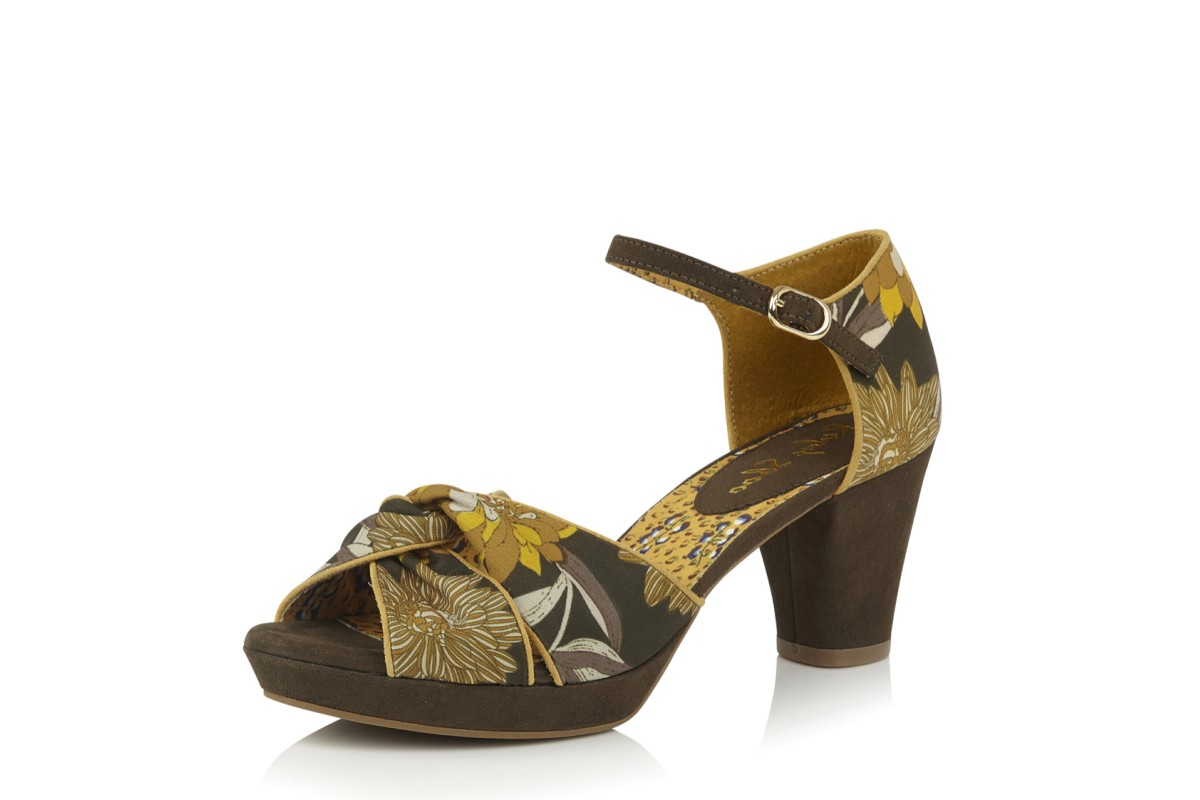 Ruby Shoo Xanthe Olive Floral High Heel Open Toe Shoes