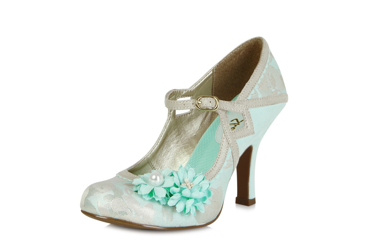 Ruby Shoo Yasmin Blue Flower Mary Jane High Heel Shoes