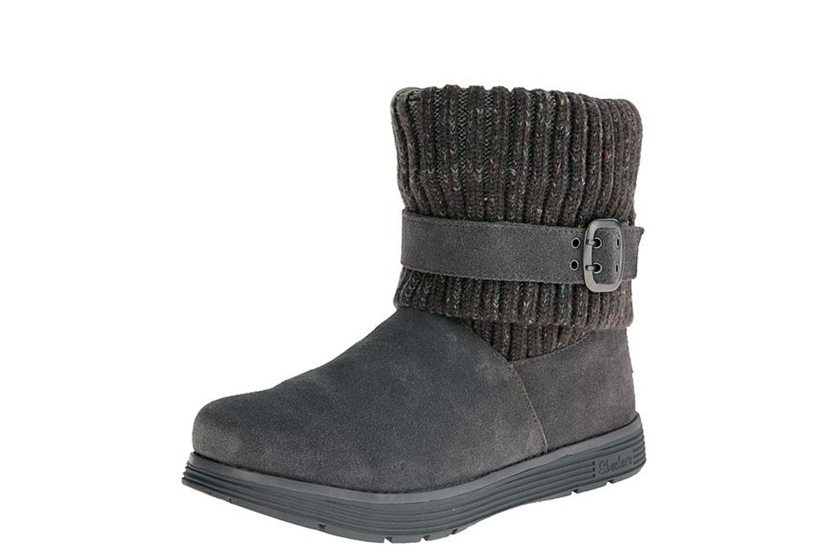 Skechers Adorbs Charcoal Grey Suede Knitted Flat Ankle Boots