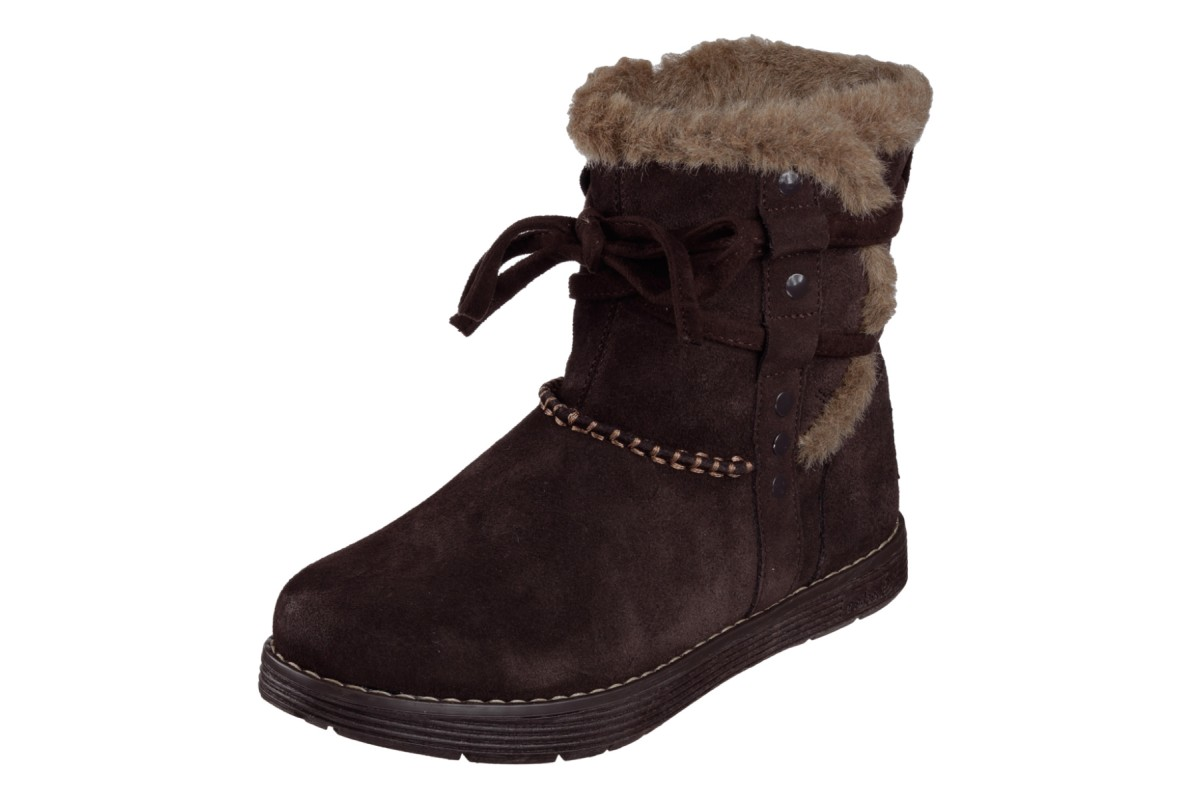 Skechers Adorbs Plushy Chocolate Brown Suede Memory Foam Flat Ankle Boots