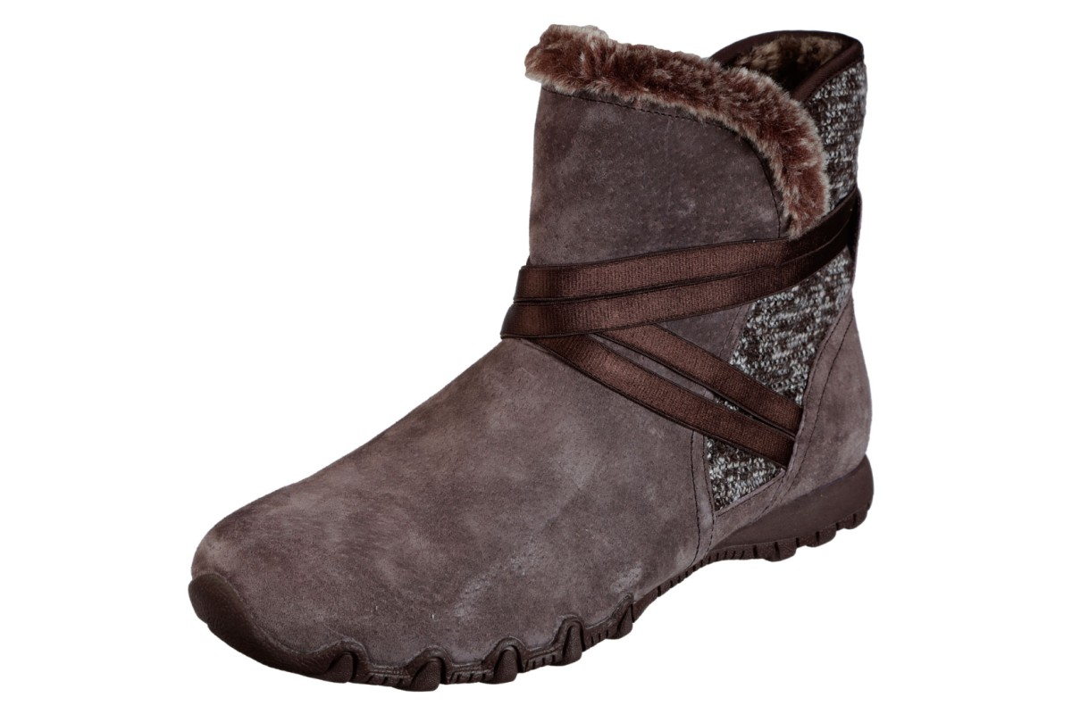 Skechers Bikers Flare Chocolate Brown Suede Memory Foam Flat Ankle Boots