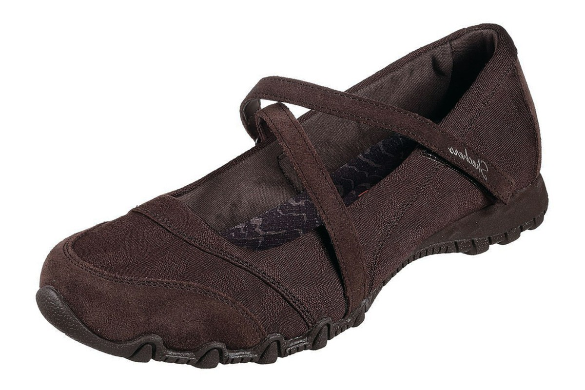 Skechers Bikers Get Up Chocolate Brown Mary Jane Memory Foam Shoes -  KissShoe dd2276304ba3