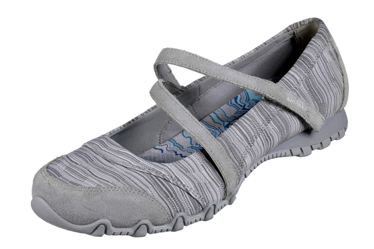 Skechers Bikers Ripples Grey Mary Jane Memory Foam Flat Shoes