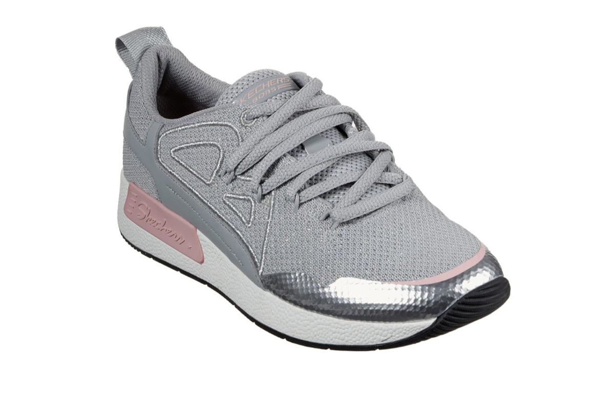Skechers Bobs B Real Grey Pink Silver Silver Memory Foam Trainers