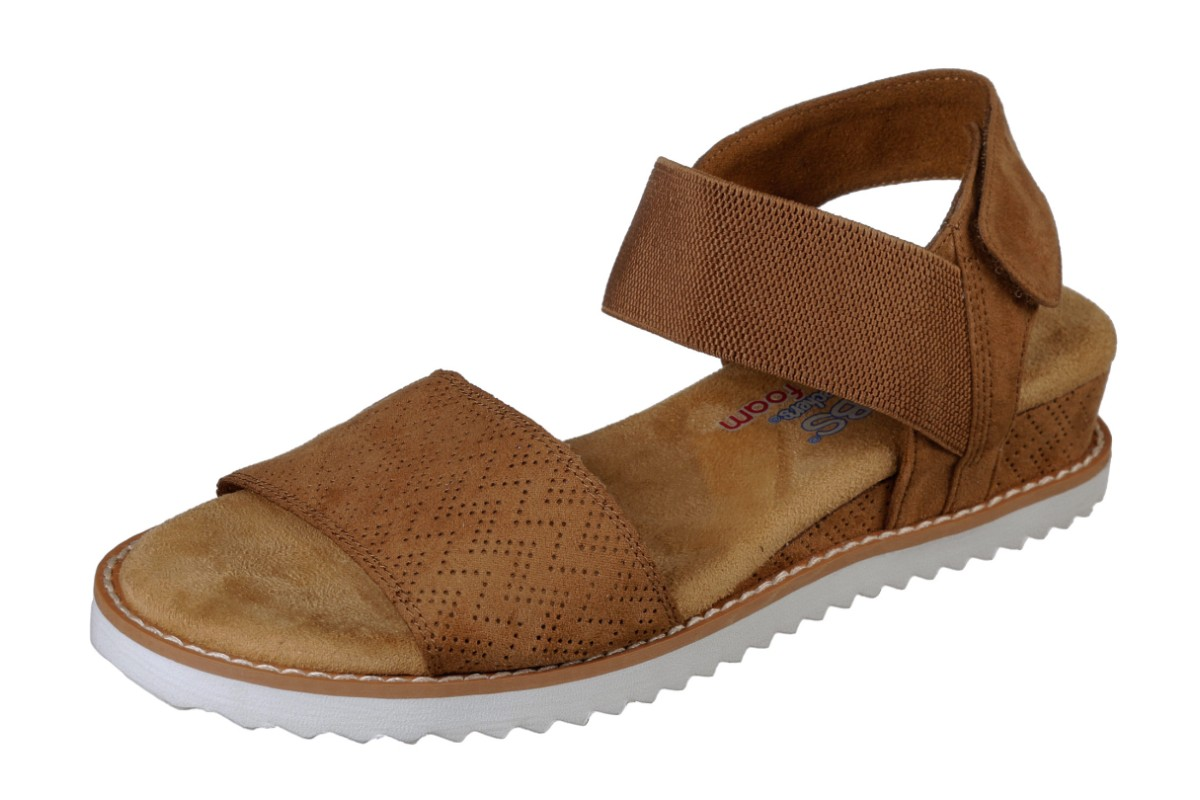 3d326d4c4215 Skechers Bobs Desert Kiss Chestnut Brown Wedge Heel Memory Foam Comfort  Sandals - KissShoe