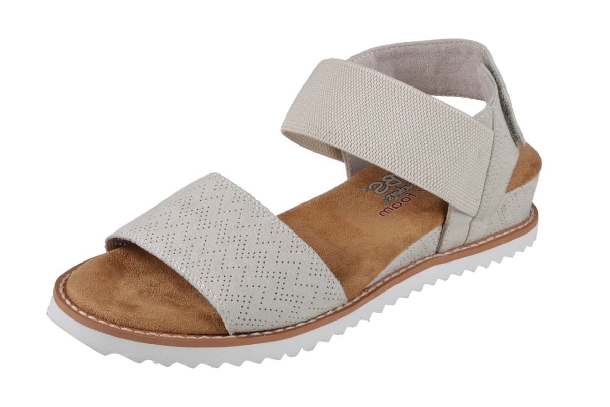 390ca367eed0 Skechers Bobs Desert Kiss Off White Wedge Heel Memory Foam Comfort Sandals  - KissShoe