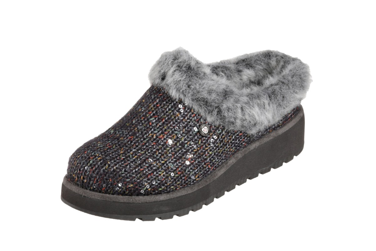 Skechers Bobs Keepsakes High Party Pause Grey Multi Memory Foam Mule Slippers