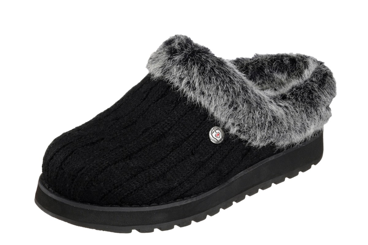 e4c14ed3d5154 Skechers Bobs Keepsakes Ice Angel Black Memory Foam Mule Slippers - KissShoe