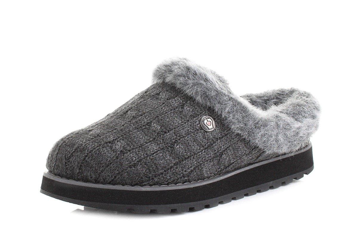 18db5cbd96b60 Skechers Bobs Keepsakes Ice Angel Charcoal Grey Memory Foam Mule Slippers -  KissShoe