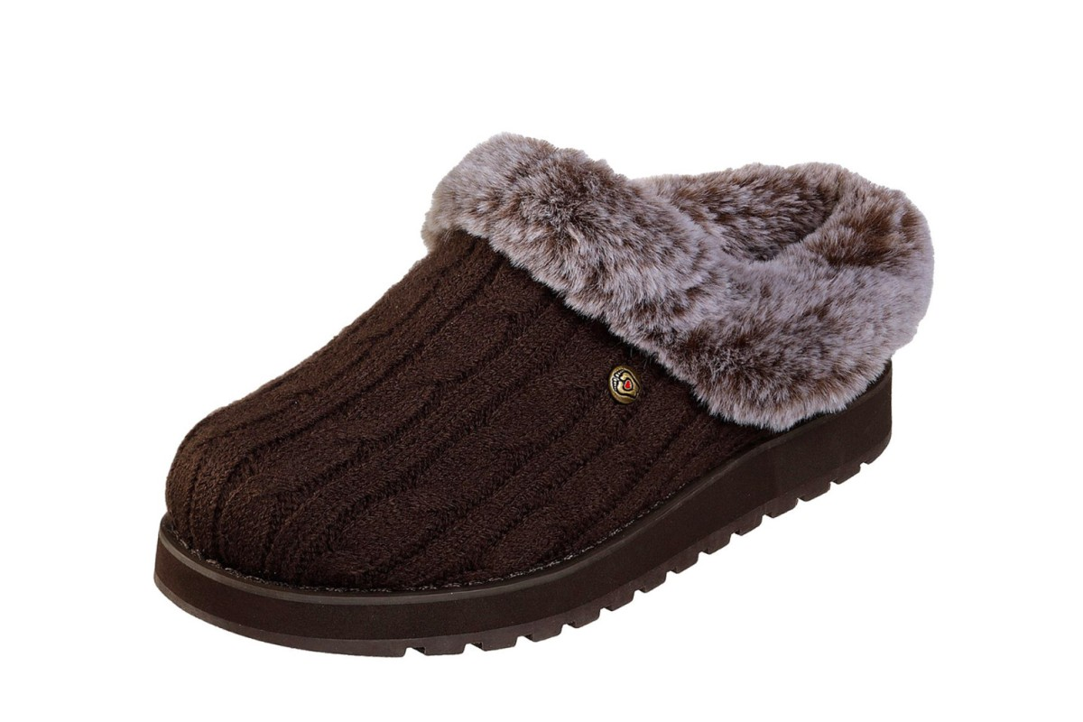 Skechers Bobs Keepsakes Ice Angel Chocolate Brown Mule Slippers