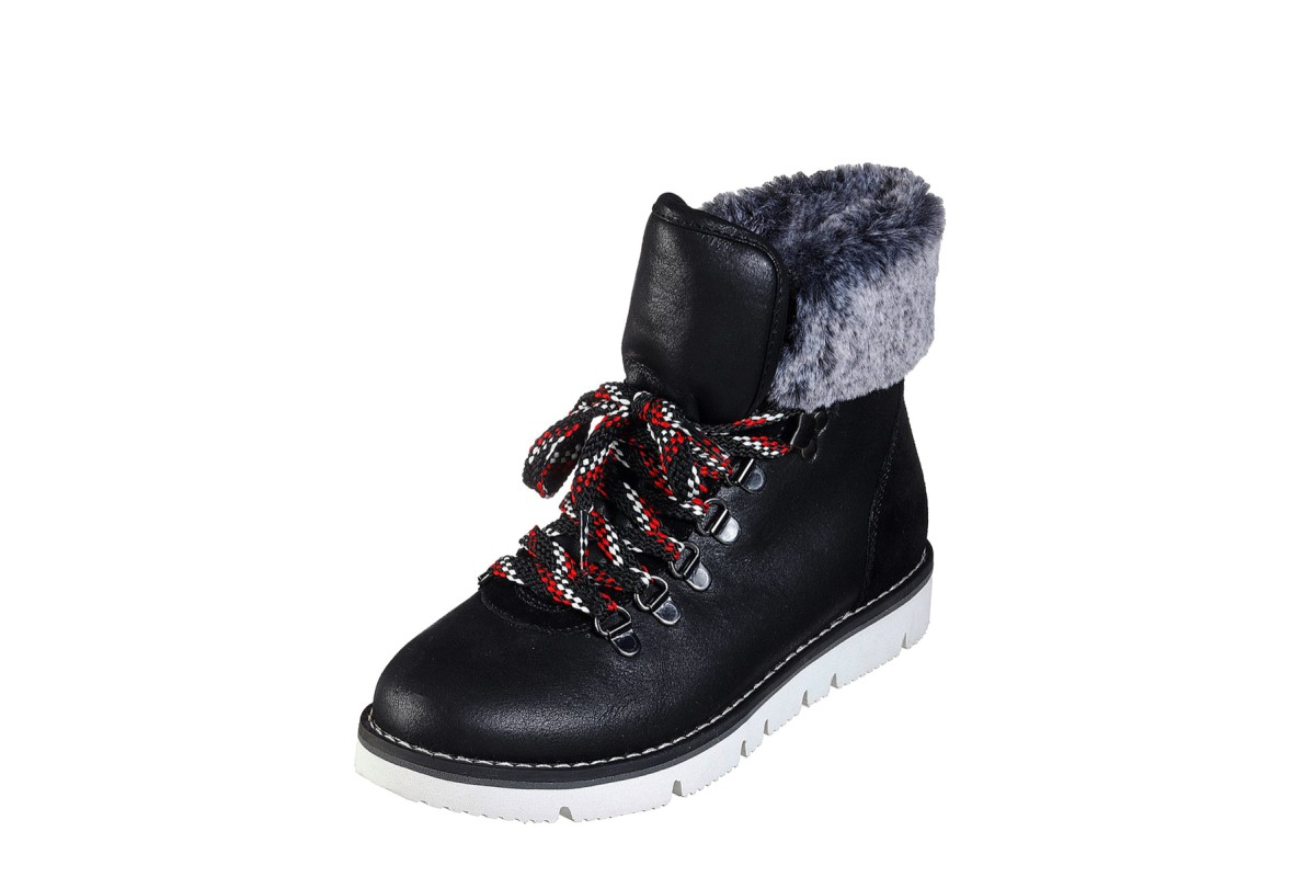 Skechers Bobs Rocky Urban Hiker Black Suede Lace Up Faux Fur Flat Ankle Boots
