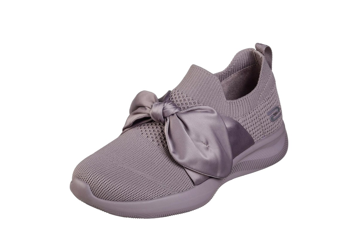 Skechers Bobs Sport Squad 2 Bow Beauty Mauve Purple Memory Foam Trainers
