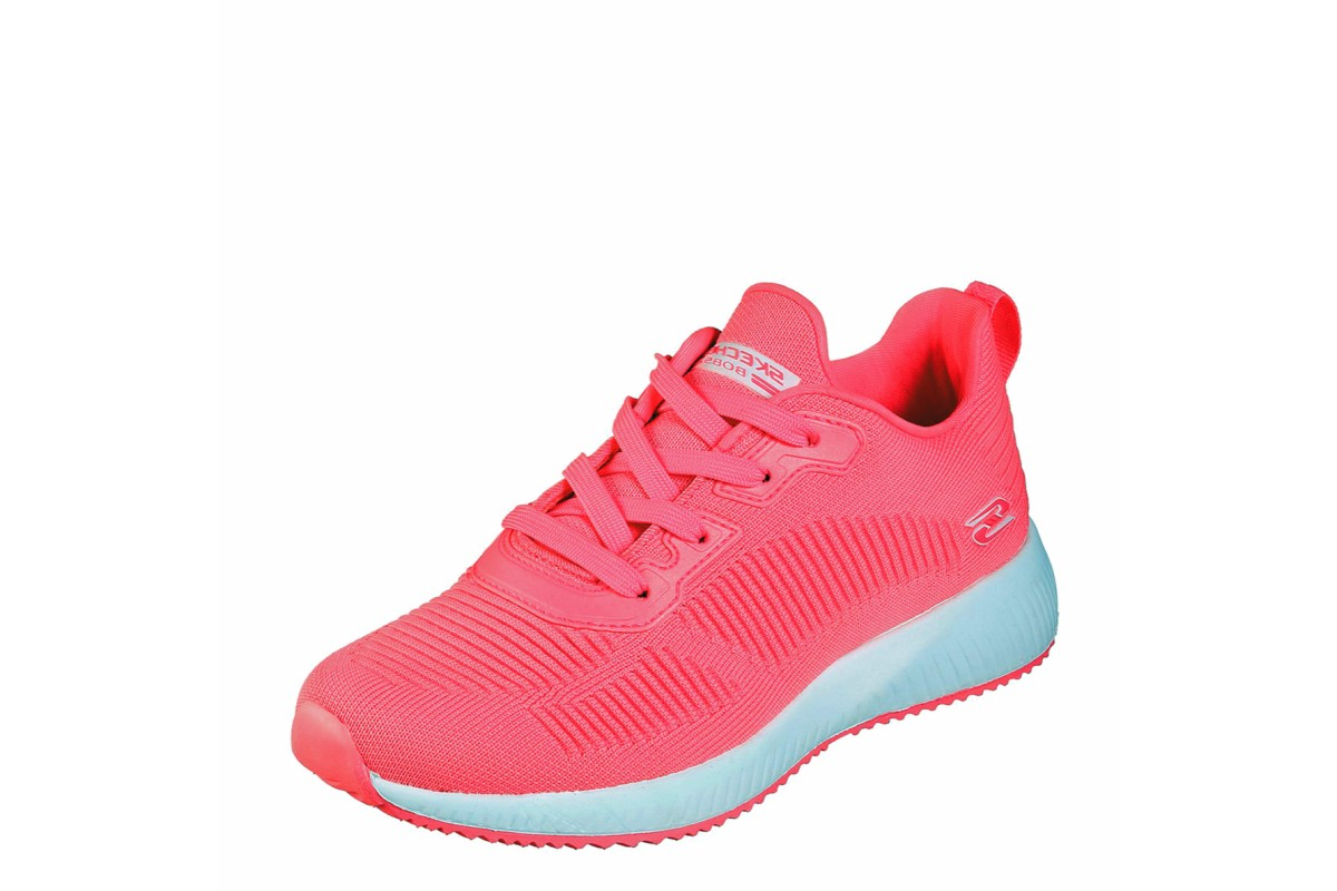 Skechers Bobs Squad Glowrider Neon Pink Memory Foam Low Top Trainers