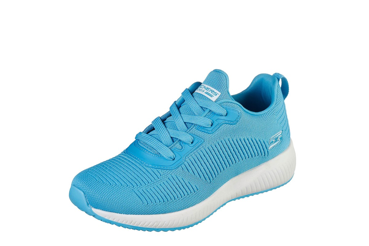 Skechers Bobs Squad Glowrider Turquoise Blue Memory Foam Low Top Trainers