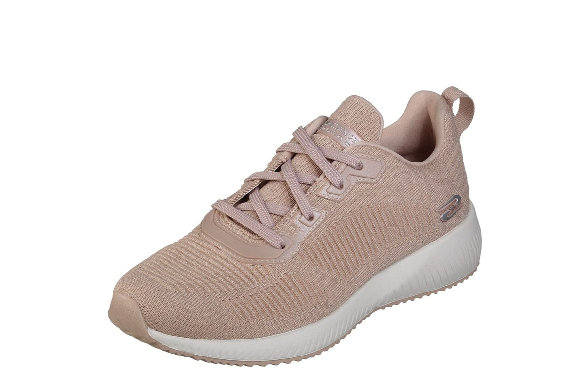 Skechers Bobs Squad Total Glam Light Pink Nude Glitter Memory Foam Trainers