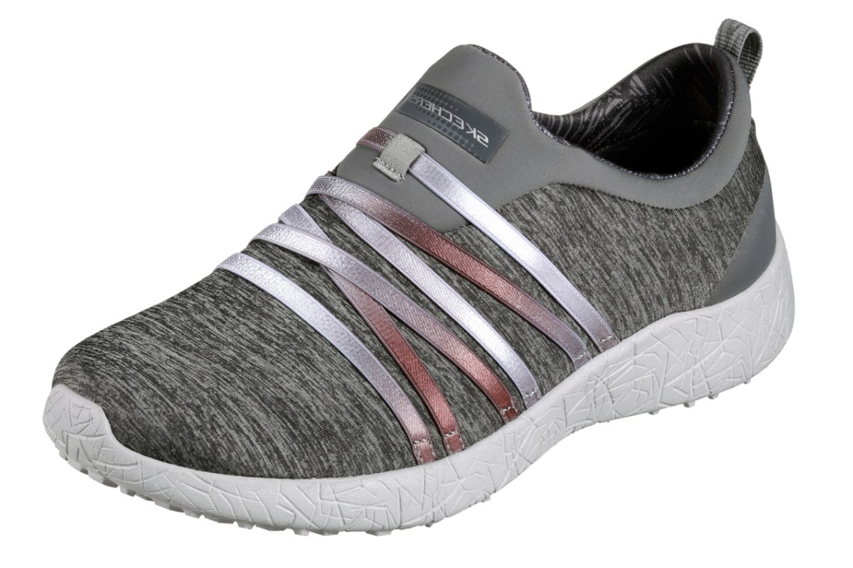 Skechers Burst Alter Ego Grey Memory Foam Slip On Trainer Shoes