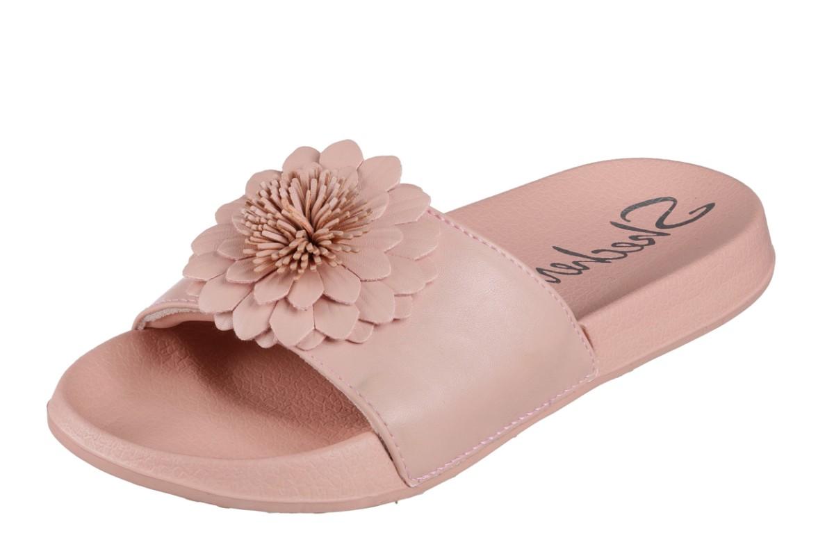40c6674e85a7 Skechers Cali 2nd Take Metal Petal Pink Flat Slide Flower Sandals - KissShoe