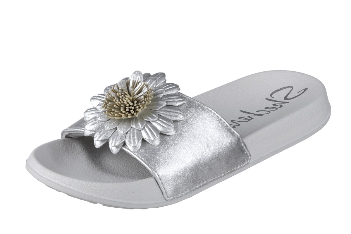 Skechers Cali 2nd Take Metal Petal Silver Grey Flat Slide