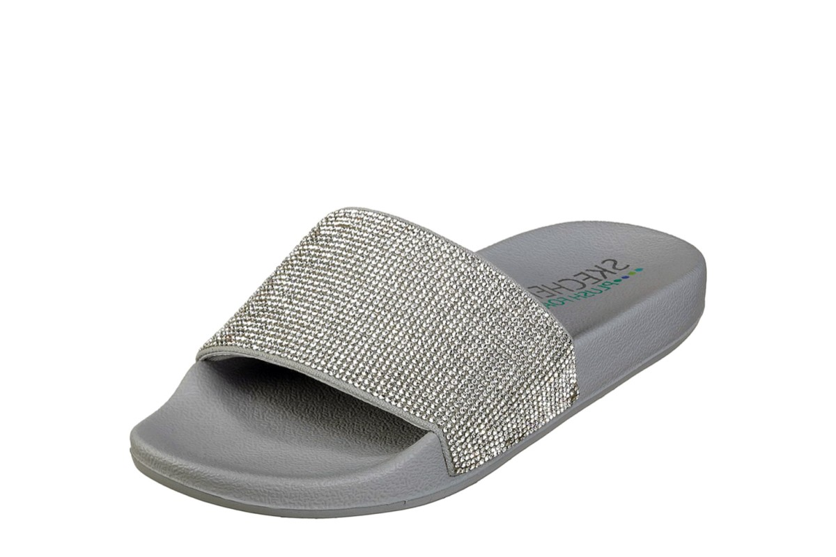 4a51e2dace22 Skechers Cali Pop Ups Stone Age Pewter Grey Silver Diamante Flat Slide  Sandals - KissShoe
