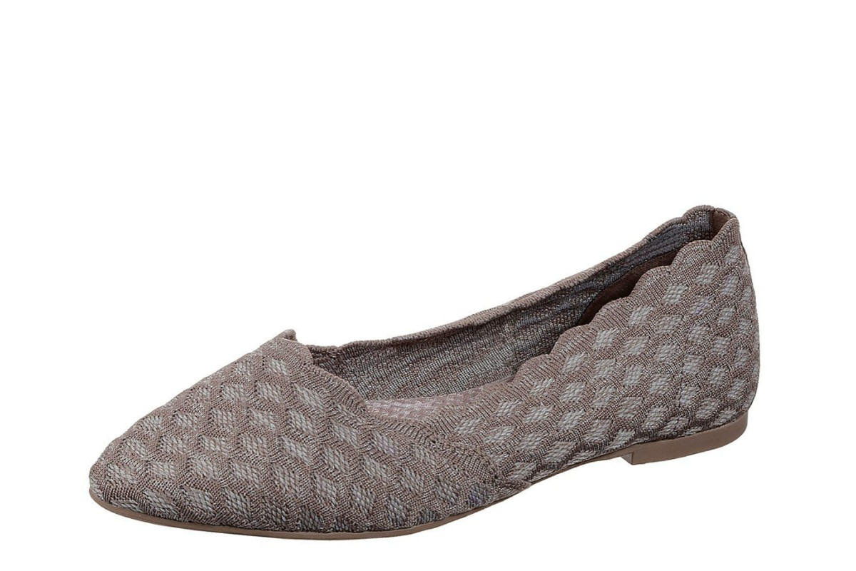 Skechers Cleo Honeycomb Dark Taupe Memory Foam Ballet Shoes