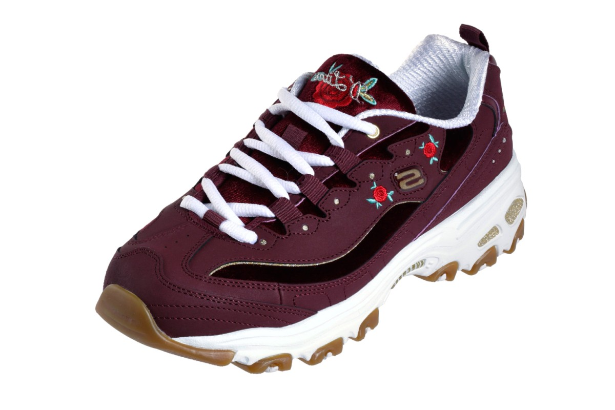 80c0db886b69 Skechers D Lites Rose Blooms Burgundy Floral Memory Foam Trainers - KissShoe