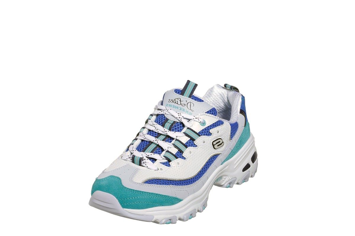 Skechers D'Lites Second Chance White Blue Turquoise Memory Foam Trainers