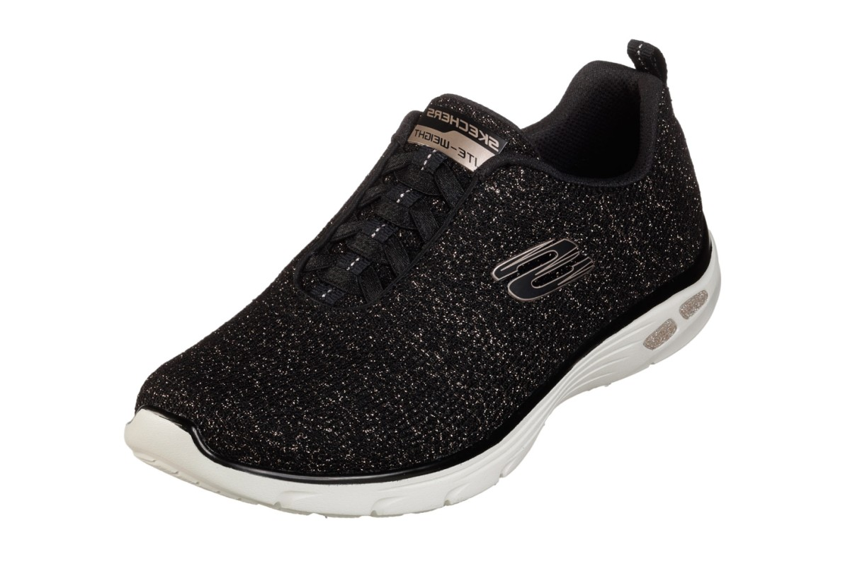 Skechers Empire D'Lux Burn Bright Black Gold Glitter Memory Foam Trainers