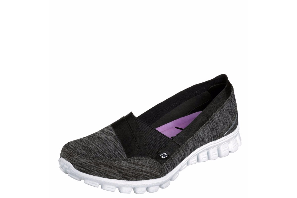 Skechers EZ Flex 2 Fascination Black White Memory Foam Flat Shoes