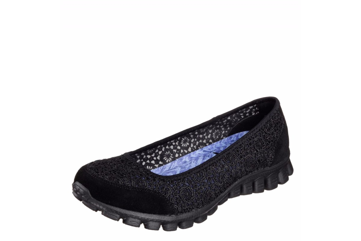 Skechers EZ Flex 2 Flighty Black Memory Foam Flat Ballet Shoes