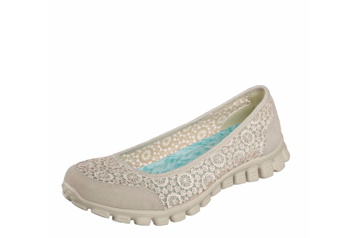 Skechers EZ Flex 2 Flighty Natural Memory Foam Flat Ballet Shoes