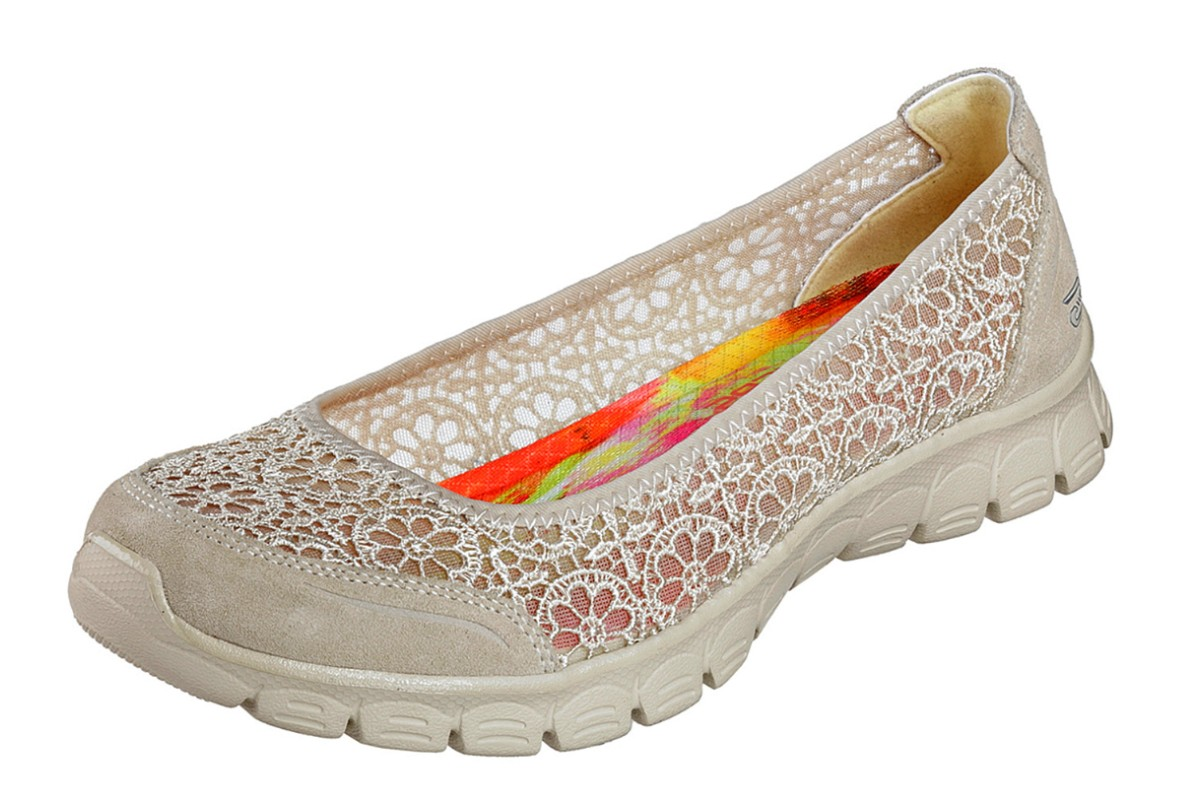Skechers EZ Flex 3.0 Majesty Natural Beige Floral Memory Foam Flat Ballet Shoes