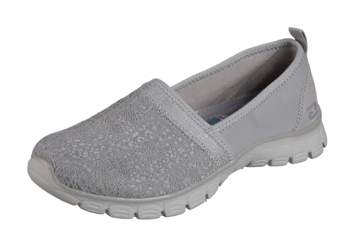5a343bf5a Skechers EZ Flex 3.0 Quick Escapade Grey Lace Memory Foam Flat Shoes -  KissShoe