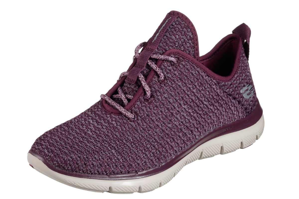 Skechers Flex Appeal 2.0 Bold Move Plum Purple Women s Memory Foam Trainers  - KissShoe 7e6a391c8
