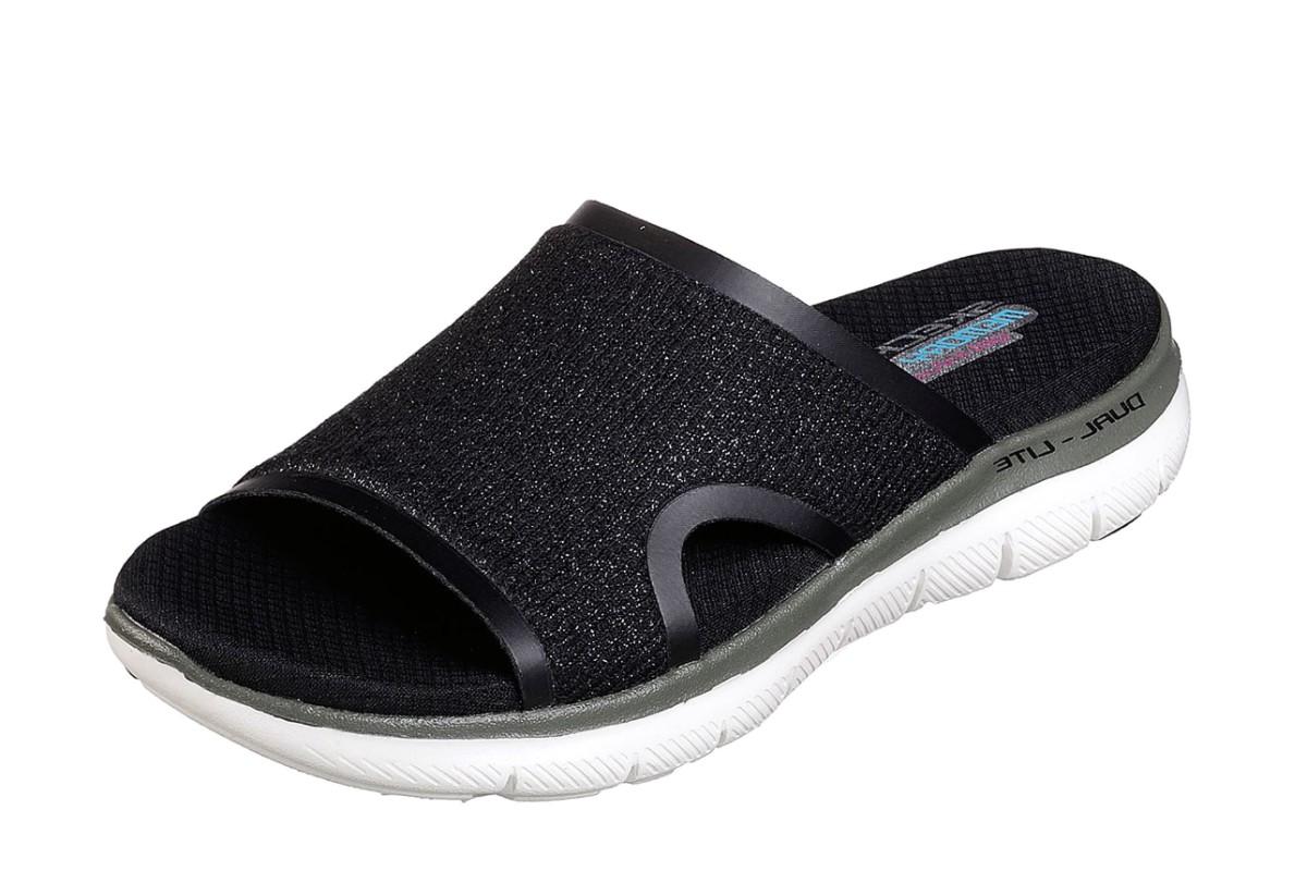 073d439cfee5 Skechers Flex Appeal 2.0 Summer Jam Grey Memory Foam Comfort Slides Sandals  - KissShoe