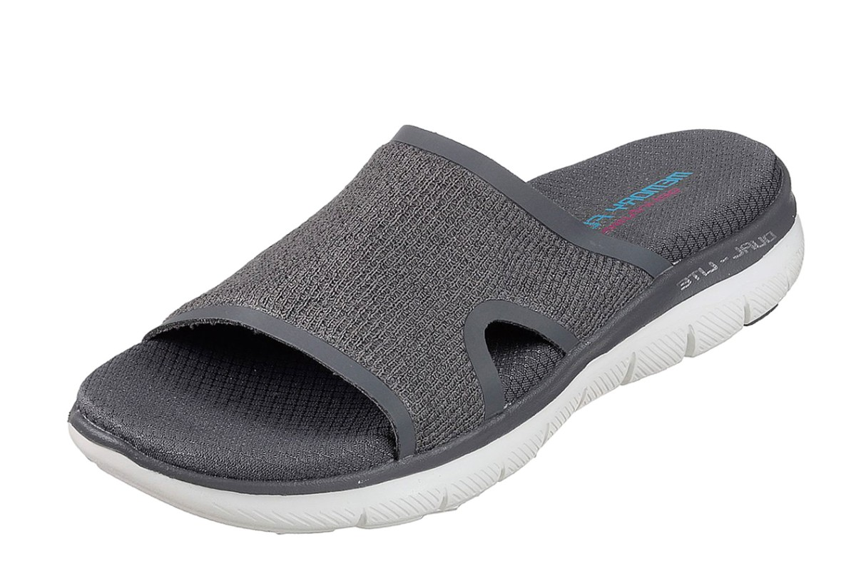 Skechers Flex Appeal 2.0 Summer Jam Grey Memory Foam Comfort Slides Sandals