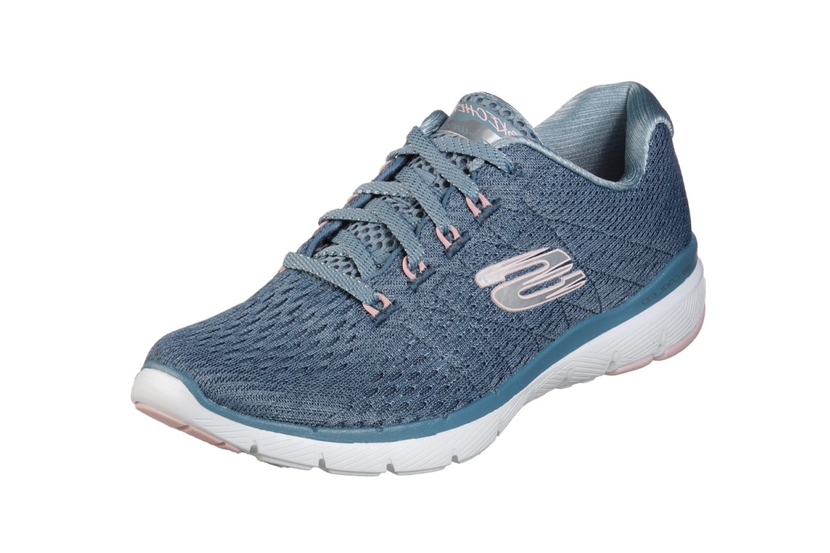 Skechers Flex Appeal 3.0 Satellites Slate Blue Pink Memory Foam Trainers