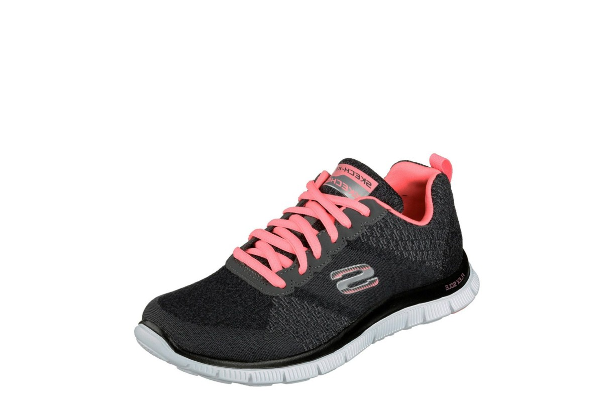 Skechers Flex Appeal Simply Sweet Charcoal Pink Memory Foam Trainers