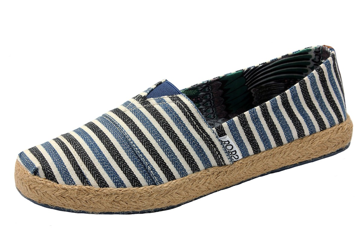 Skechers Flexpadrille Port & Starboard Navy Stripe Flat Espadrille Shoes