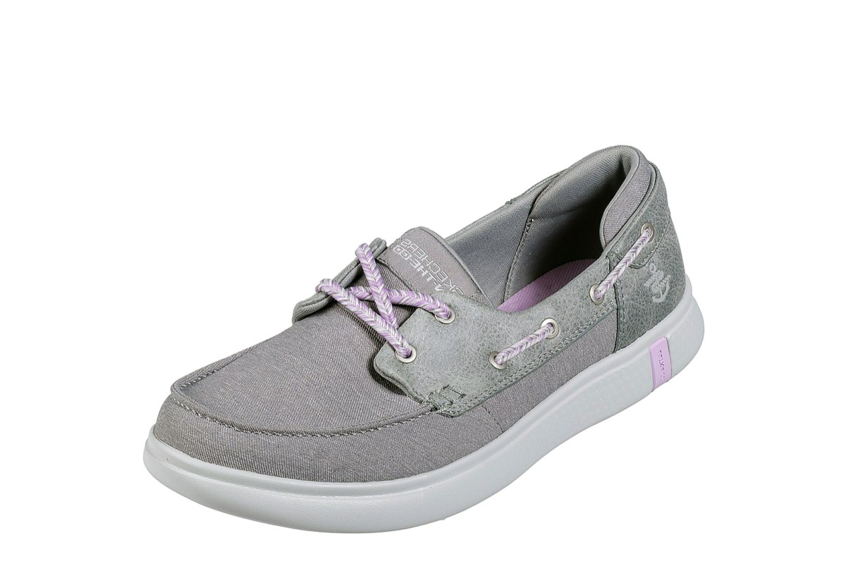 Skechers Glide Ultra Playa Grey Canvas Comfort Boat Shoes
