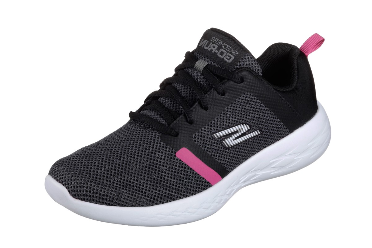 Skechers Go Run 600 Revel Black Hot Pink Athletic Trainers