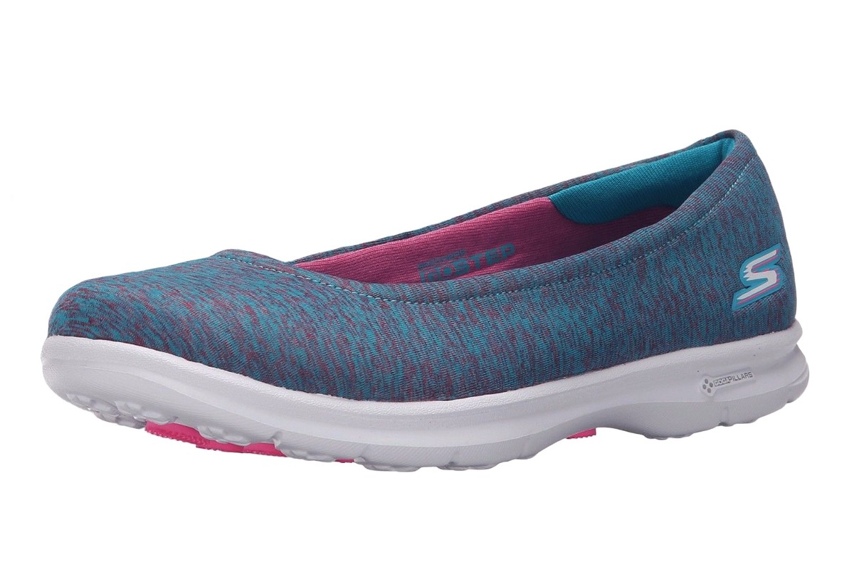 Skechers Go Step Challenge Blue Pink Women's Flat Comfort Ballet Shoes