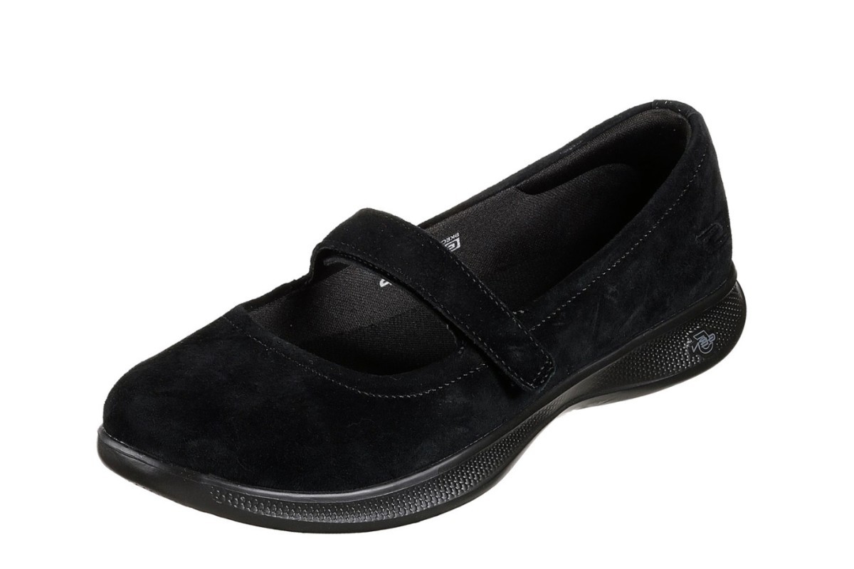 Skechers Go Step Lite Quaint Black Suede Mary Jane Comfort Shoes - KissShoe 040f31499a0a