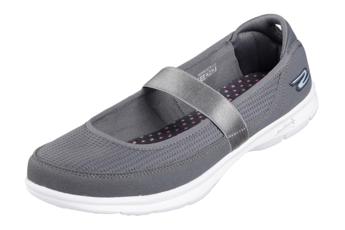 Skechers Go Step Original Charcoal Grey Flat Comfort Mary Jane Shoes