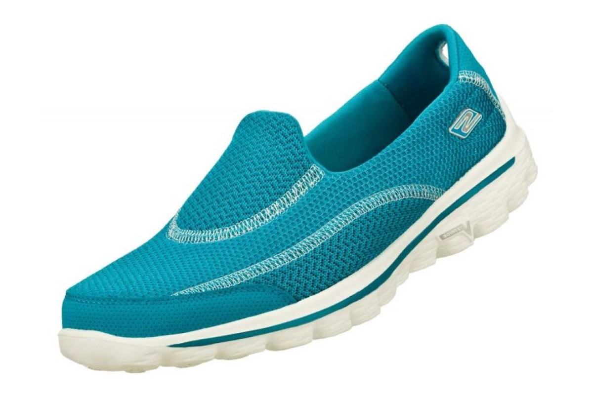 Skechers Go Walk 2 Spark Turquoise Blue Slip On Trainers