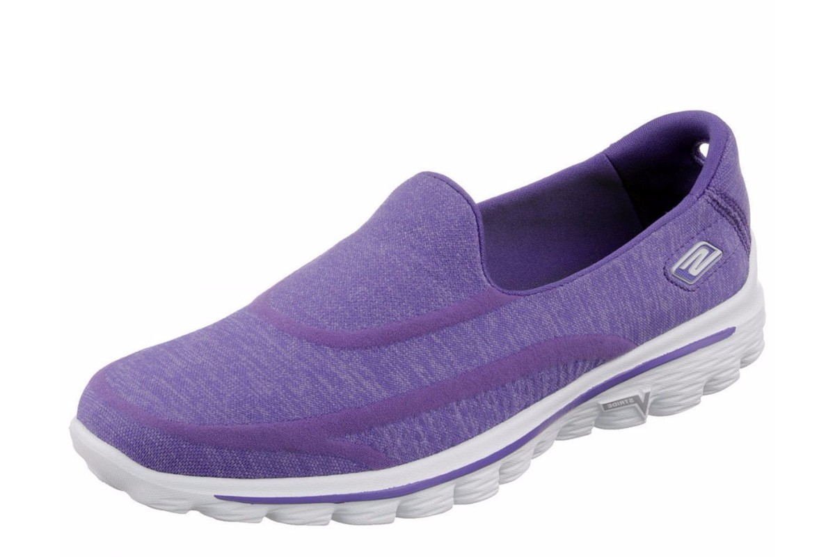 skechers go walk 2 sock purple womens slip on shoes
